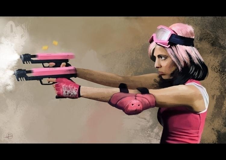 pink guns - illustration - attianart | ello