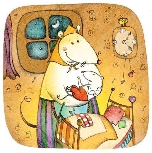 lullaby - illustration, mouse, home - natatulegenova   ello