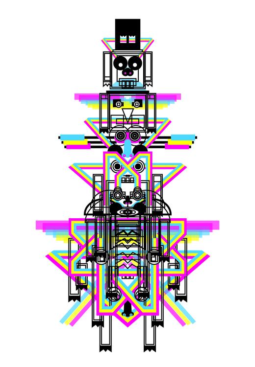 Totem9b - totem, cmyk, art, illustration - pabloshock | ello