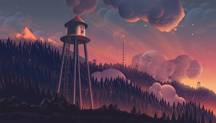 Heights - 2015 - watertower, clouds - ecstatic-1221 | ello