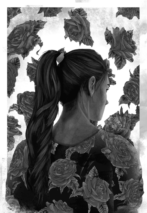 roses - black, illustration, girl - thatt | ello