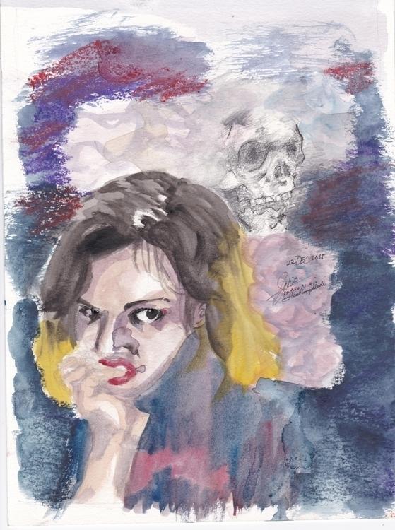 Shades Blue - watercolor, illustration - headbangindude | ello