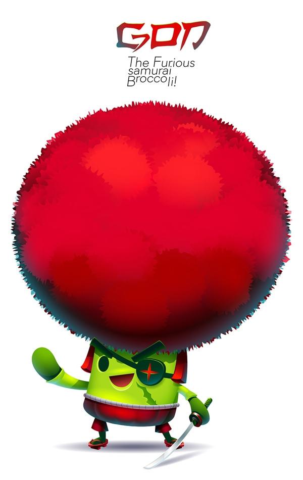 GON Furious Samurai Broccoli - characterdesign - gugggar | ello