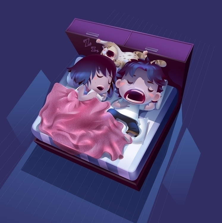 illustration, sleep, cat - gugggar | ello