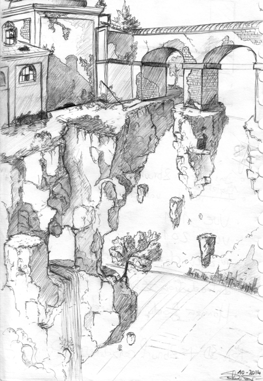 Falling - illustration, drawing - k0ori | ello