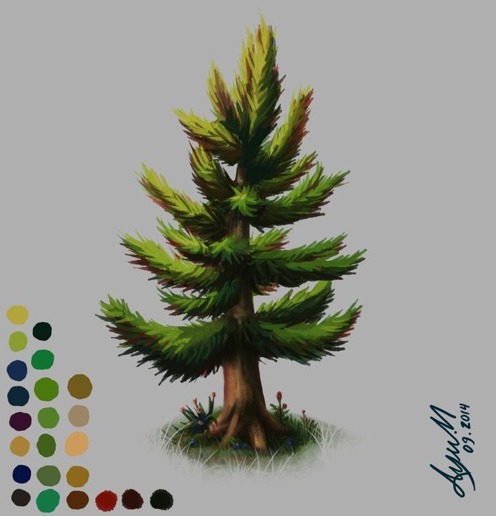 tree, trees, illustration, painting - ayu-3119   ello