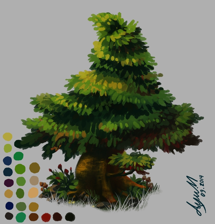 tree, trees, painting, illustration - ayu-3119 | ello