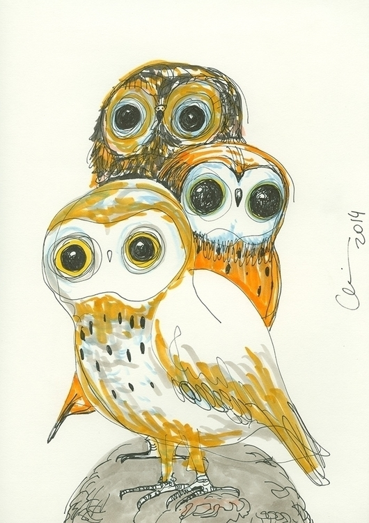 Cute Owls art show - #owl#copic#owls - chicobaldini | ello