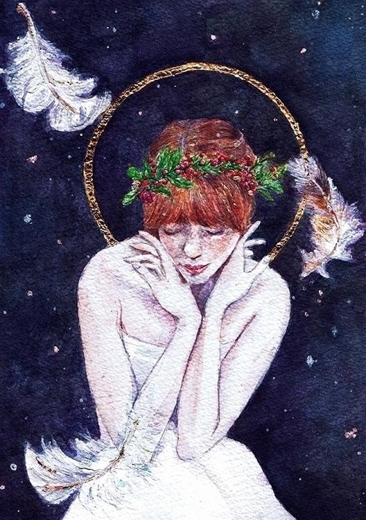 Angel - watercolour, watercolor - rebeccakateart | ello