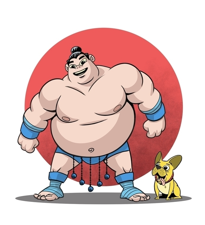 Sumo wrestler doggie - illustration - robking21 | ello