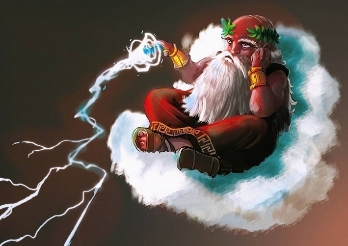 Bored Zeus - illustration, characterdesign - yourizered | ello