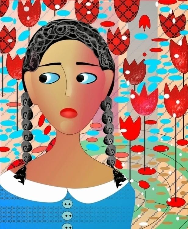 Tulip - illustration, painting, portrait - tattiart | ello