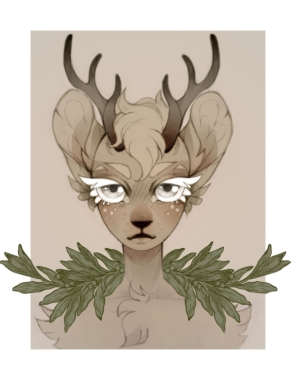 Deer Child Sketched paper, colo - hevdra | ello