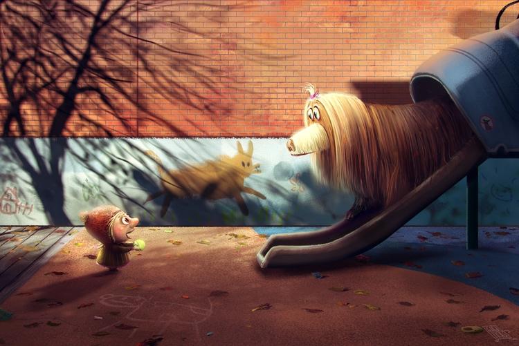 kid dog parents day - illustration - gagatka   ello