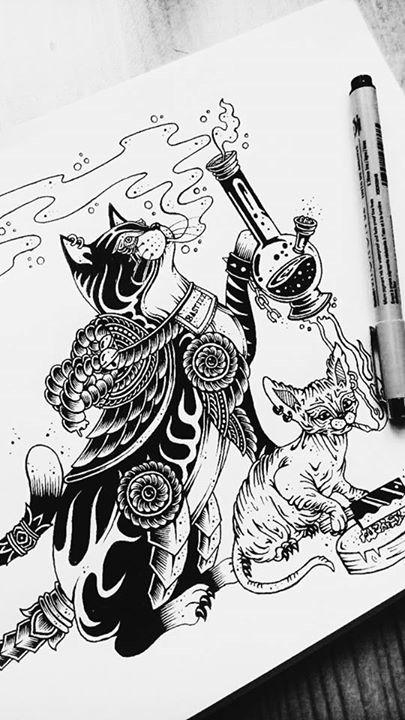 WEED CAT - characterdesign, blackandwhite - bastizz | ello