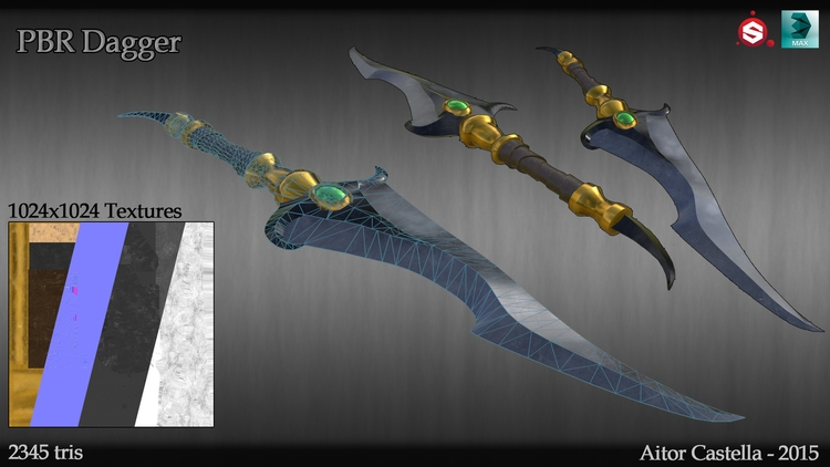 PBR Dagger - 3d, 3dart, 3dsmax, substance - aitorc2   ello