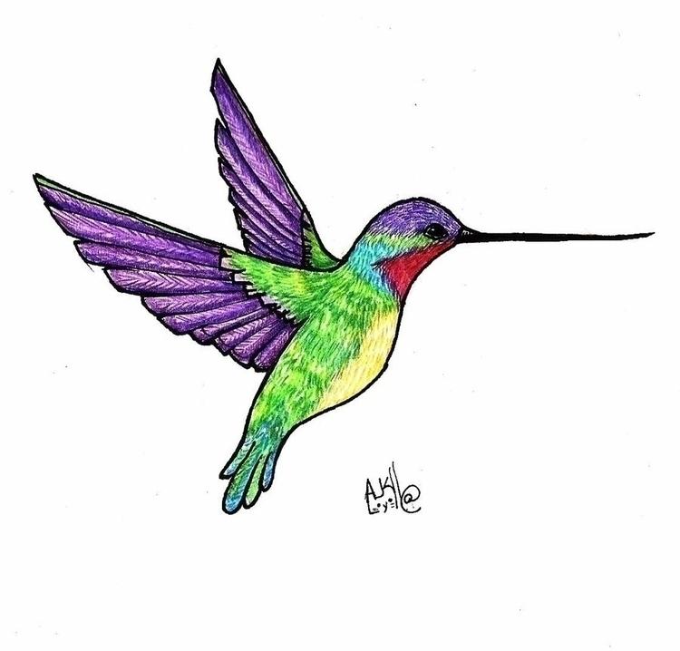 hummingbird, bird, coloredpencil - amandaloyolla | ello