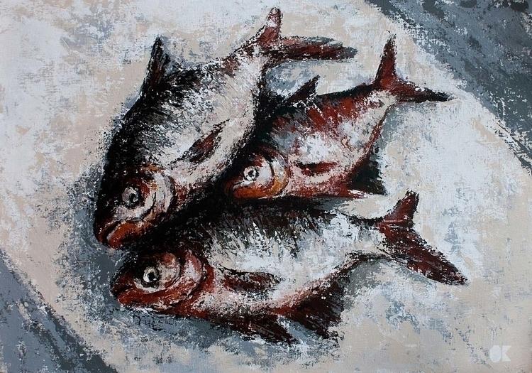FISH FAMILY acrylic canvas, 100 - ogel | ello