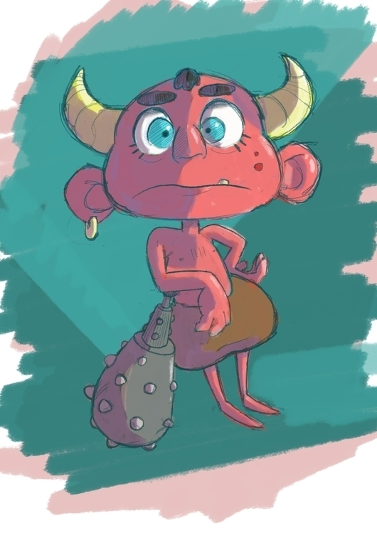 Lil' Oni - oni, characterdesign - paperbag-3414 | ello