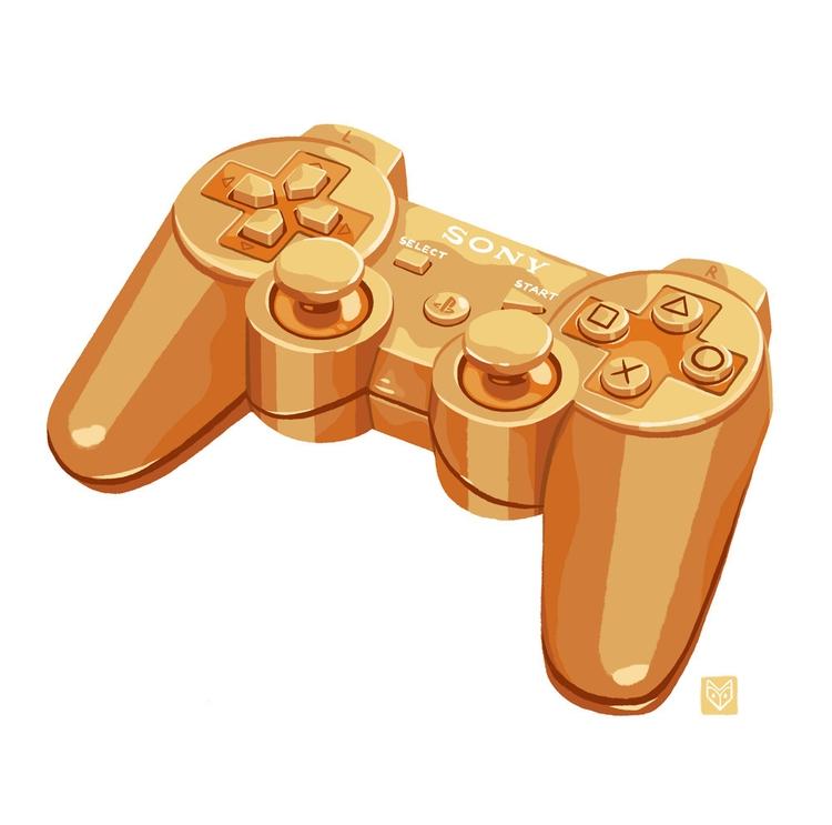 Gold gamepad - illustration, digitalillustration - elinanovak | ello