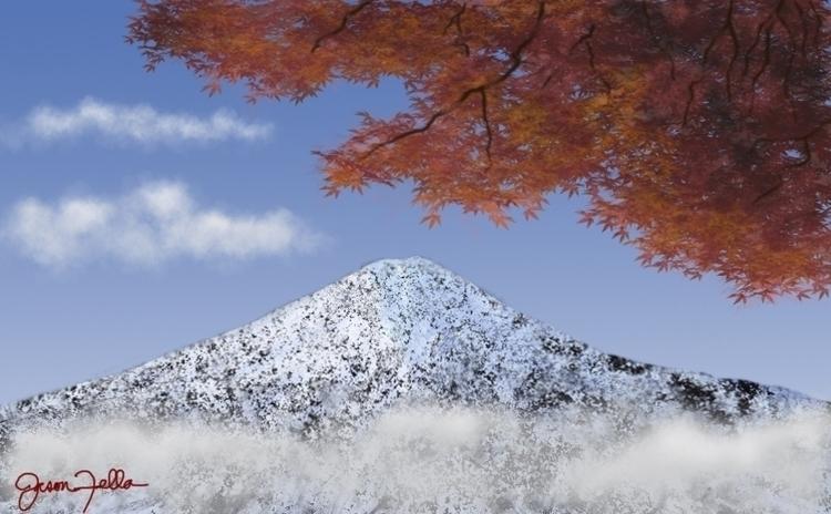digital painting Mt. Fuji Japan - jasonfella | ello