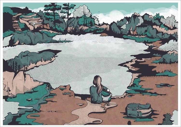 Lake - lake, illustration, drawing - malgrodzka | ello