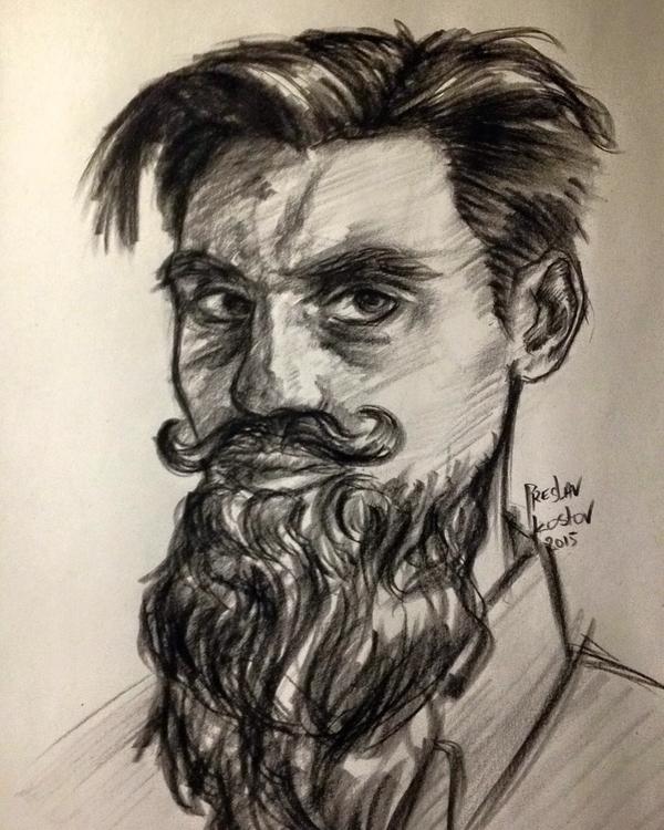 Beardy Portrait - illustration, drawing - preslavkostov | ello