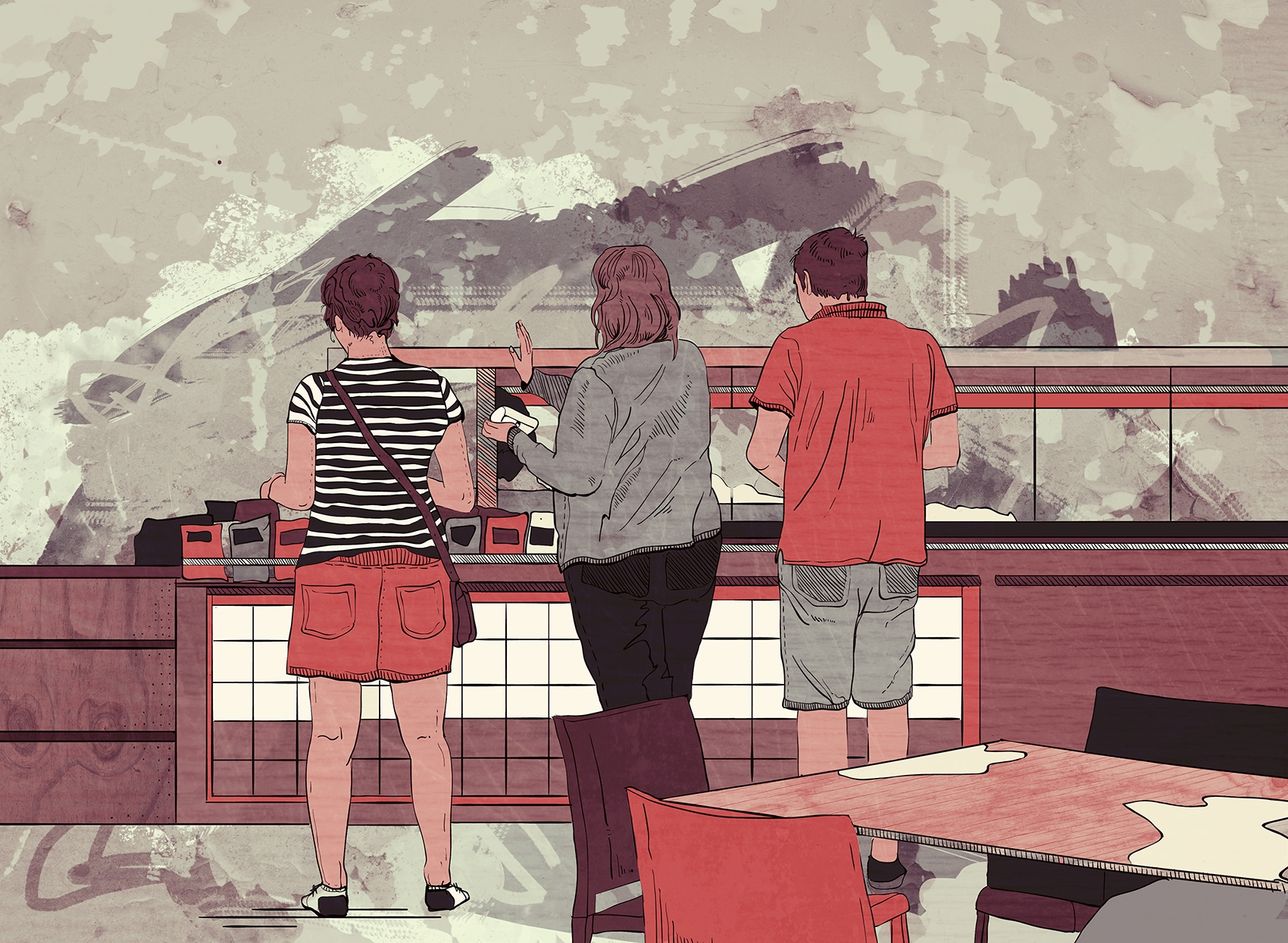 Fast food shop - illustration, drawing - malgrodzka | ello