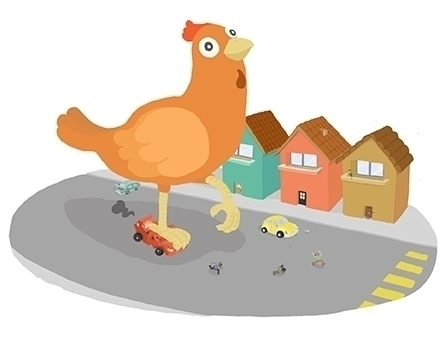 chicken - giant, destroy, countryside - vianeo | ello