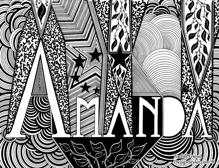 Amanda - illustration, names, typography - dezignstyler | ello
