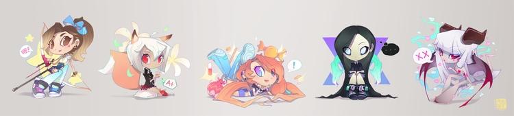 Chibi character lineup - characterdesign - liea-7253 | ello