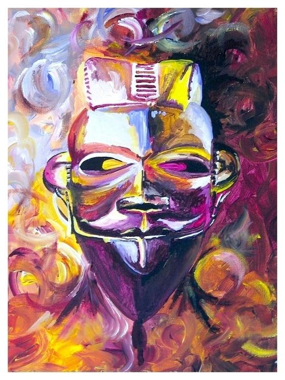 painting, AfricanMask - rodjohnsonart | ello