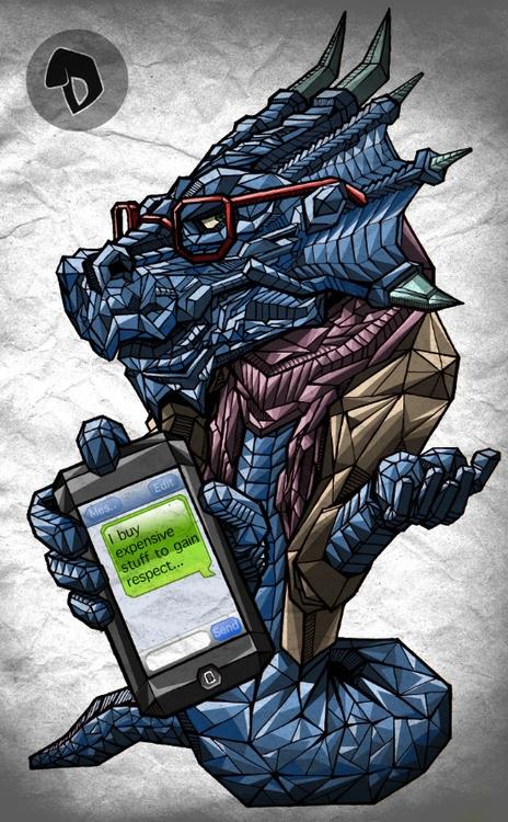 Hipster Dragon 2 - geometric, illustration - gemllave | ello