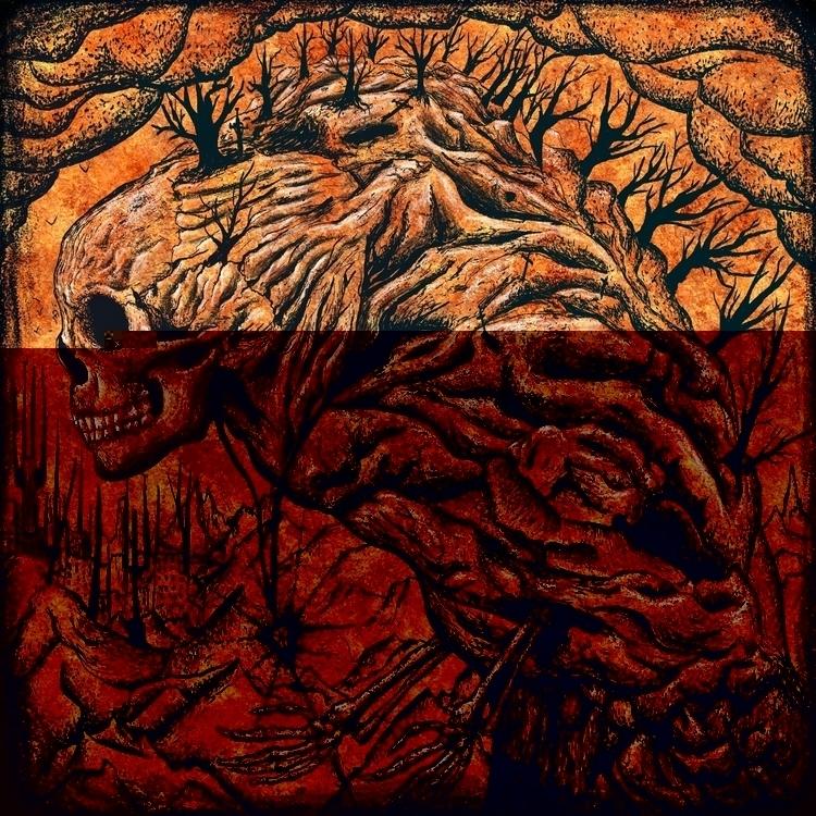 Mountain - mountains, dotwork, skull - antonkarlik | ello