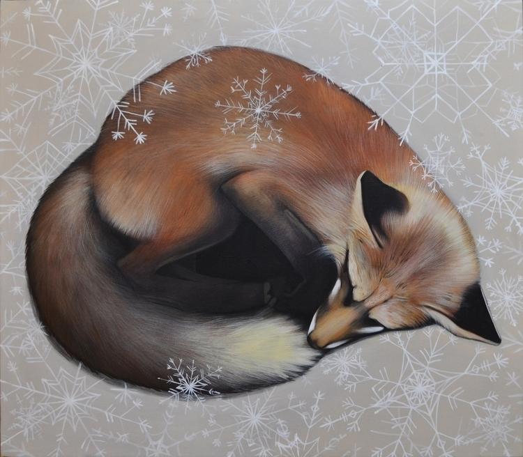 Fox 70x80 cm acrylic canvas - painting - maryna-6139 | ello