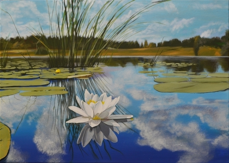 Lake 80x70 cm acrylic canvas - painting - maryna-6139 | ello