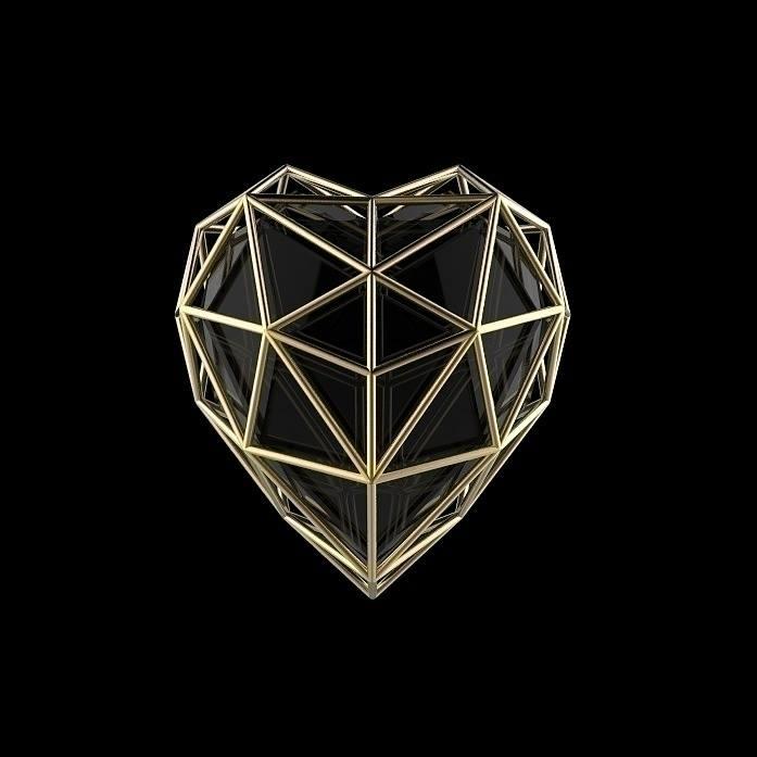 Poly Heart - heart, gold, golden - frankreyes | ello