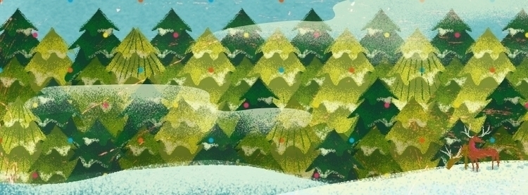 winter - illustration, snow, landscape - malgorzatadetner | ello