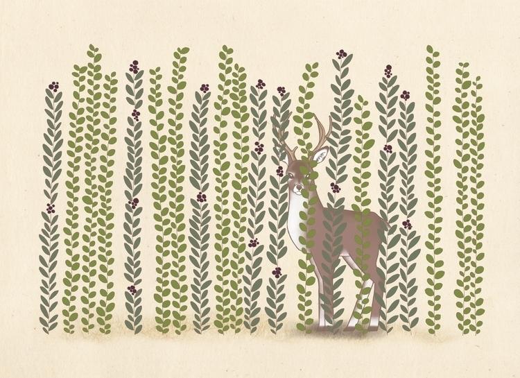 Linger - illustration, drawing, deer - eunice-3818 | ello