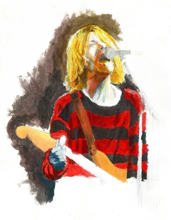 Kurt Cobain - illustration, drawing - pertdoherty | ello