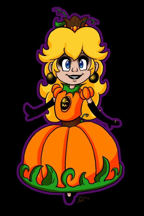 Pumpkin Peach - illustration, supermario - kelsbugproductions | ello
