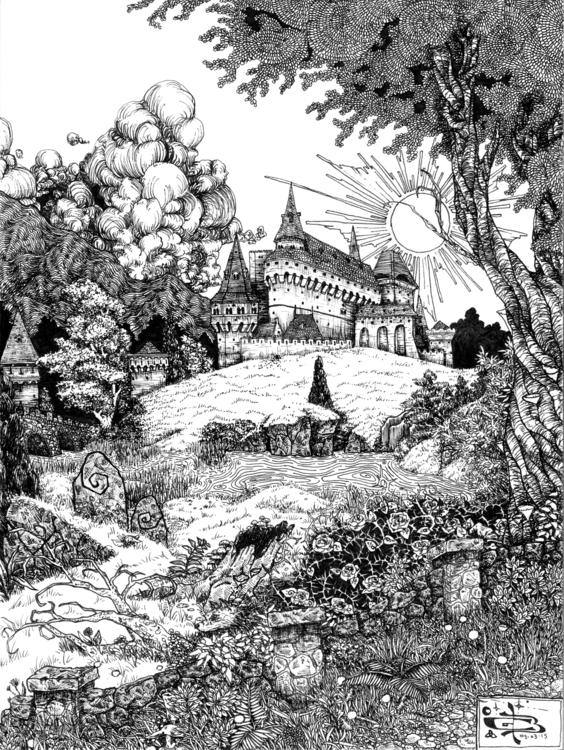 Castle Hill - castle, fantasy, landscape - wyldtrees   ello