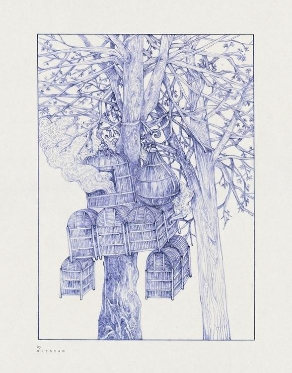 tree bird cage pencil paper - drawing - sithzam | ello