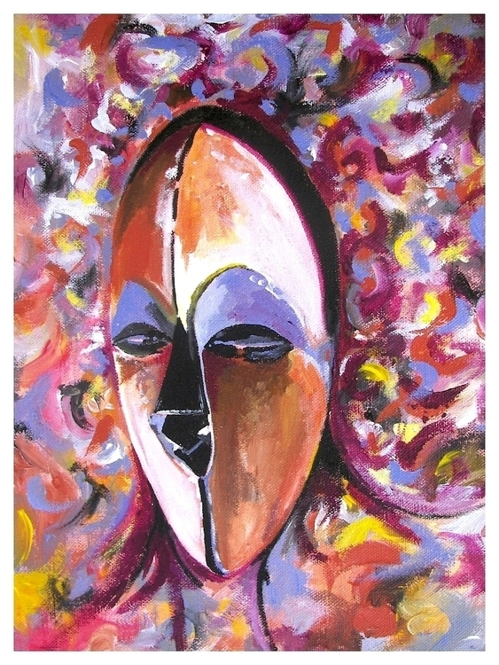 painting, ArficanMask,  - rodjohnsonart | ello