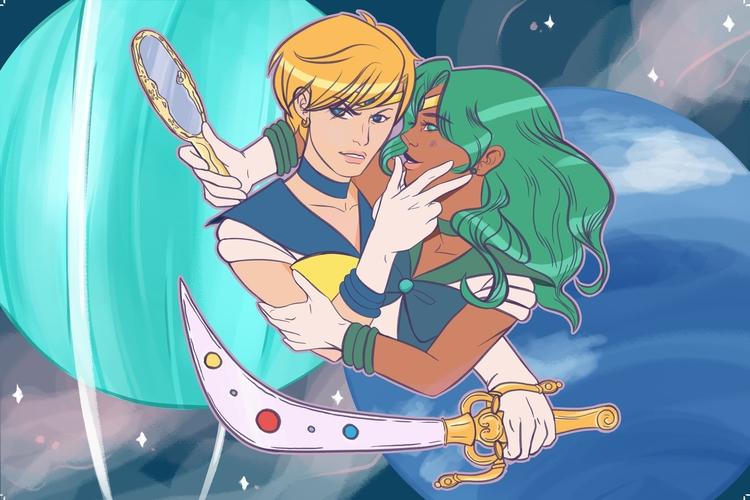 Sailor Uranus Neptune - illustration - guemoza   ello