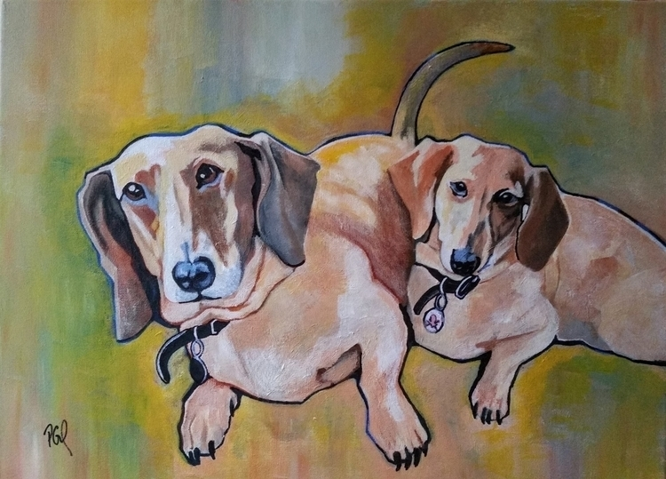 Double Doxies Acrylic Canvas 18 - artenvy | ello