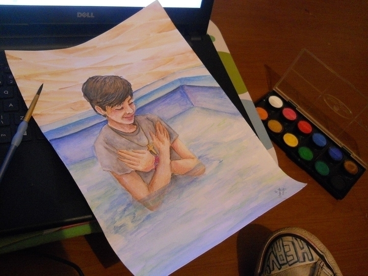 baptism, watercolor, christian - amandaloyolla | ello