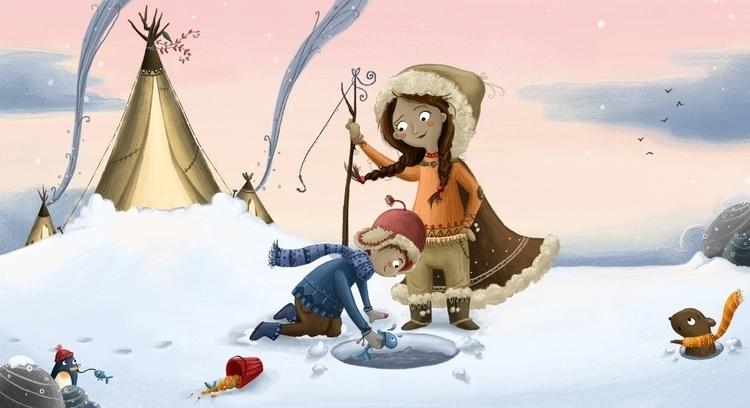 Arctic Scene - winter, fishing, penguin - illustratelucy | ello