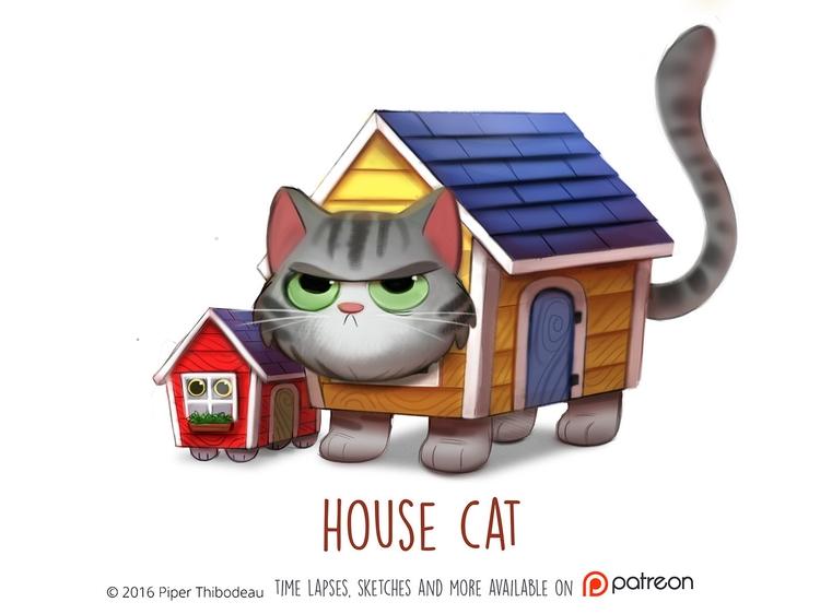 Daily Paint 1470. House Cat - piperthibodeau | ello