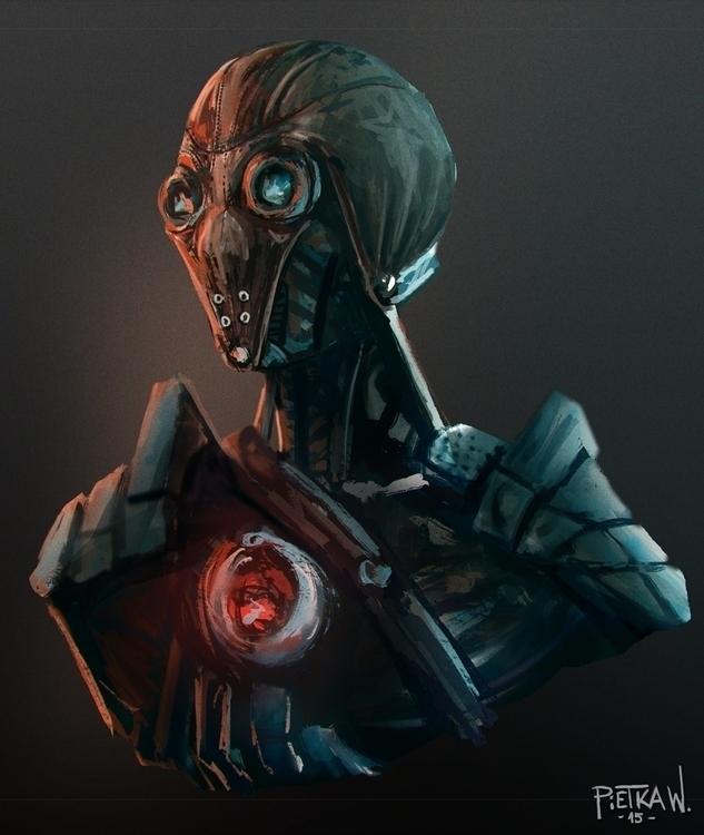 Robo soldier concept bust - illustration - pietkaw | ello